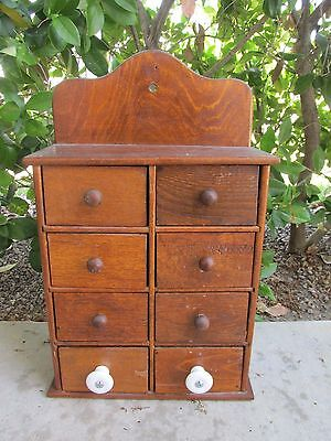 Vintage Antique Spice Apothecary Box 8 Drawer