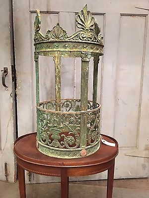 Antique Bronze Ecclesiastical Style Cylinder Ceiling Light Frame High Patina