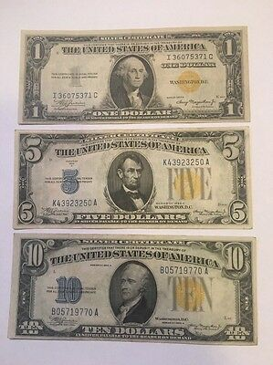 1934A North Africa Set Of 3 $1 $5 $10
