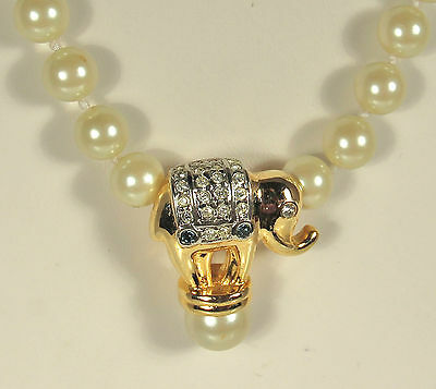 ELEPHANT Necklace RHINESTONES & Hand Knotted GLASS PEARLS Box Clasp FAB