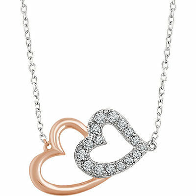 "Diamond Double Heart 16-18"" Necklace In 14K White & Rose Gold (1/5 ct. tw.)"