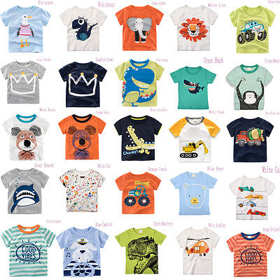 Kids Baby Boys Girls Short Sleeve Cotton T-Shirt Summer Tee T-Shirt Cartoon Tops
