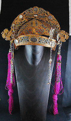 Antique Chinese Peking OPERA Headdress Paper Mache Silk Tassel Gold Crown