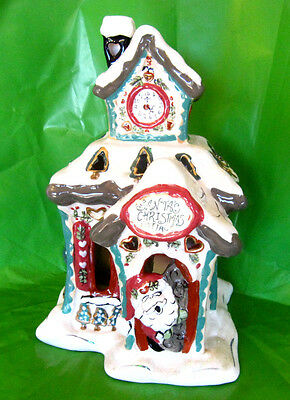 "Santa's Christmas Cottage BLUE SKY CLAYWORK Heather Goldminc Tea Lite 9"" ceramic"