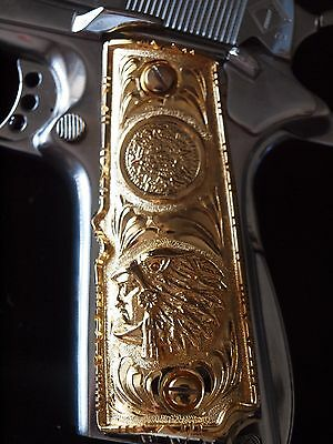 1911-Cachas-38-Super-45-Pistol-Grips-Colt-Government-24K-Gold-Platd-Free-Screws