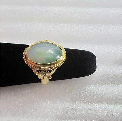 22K Gold & Cabochon jade Chinese ring Qing dynasty superb