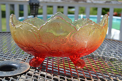 Vintage Red Amber Amberina Pressed Glass Footed Serving Bowl Planter #7127