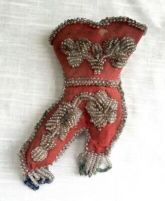 Antique Victorian Iroquois or Mohawk Beaded Large Whimsey Whimsie Whimsy Boot