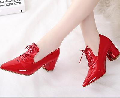 Patent Leather Women's Shoes Pointy Toe Block Heel Casual pumps Hot Lace up new