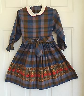 Vtg 50s Tiny Town Toddler Girls Blue Brown Plaid Dress Embroidered Belted 4T 5