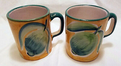 Williams Sonoma - Set 2 Country Fair Hand Painted Pottery Mugs - Made in Italy