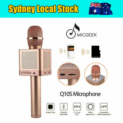Rose Gold MicGeek Q10S Wireless Bluetooth Karaoke Microphone Home Entertainment