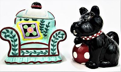 MARY ENGELBREIT Henry Scottie Dog Ceramic CREAMER and Chair Sugar BOWL 2 pc. SET