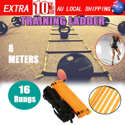 16 Rung 8M Speed Agility Feet Training Ladder Footwork Football Soccer Fitness A