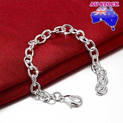 Wholesale 925 Sterling Silver Filled Classic Solid Curb Charm Bracelet Chain