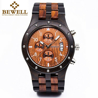 Bewell W109D Men Wood Watch Sub-dials Quartz Movement Date Wooden Wrist Watches