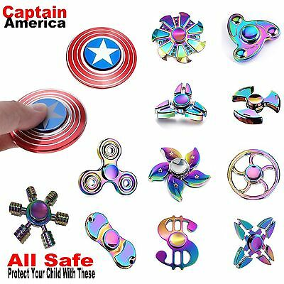 Captain America Fidget Hand Finger Spinner Shield Toy EDC Focus ADHD For Kids AU