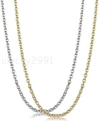 Womens Silver/Gold Wholesale Stainless Steel Strong Rolo Chain Necklace in bulk