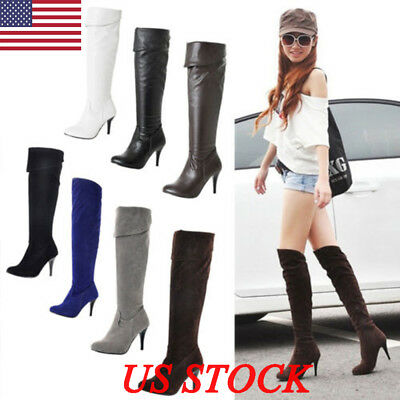 US New Womens Ladies Suede Over The Knee Boots Shoes High Heel Zip Thigh Stretch