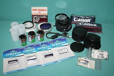 Canon Camera Accessories Lot * Film Batteries Caps Filters Straps * Photography