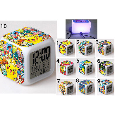 New Pokemon Cube 7 Color Changing LED Night Light Alarm Clock Watch Toy Gift