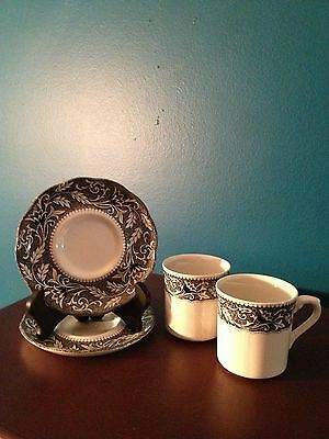 J & G Meakin Cup & Saucer Set of  (2)  in the Renaissance Black/White Pattern
