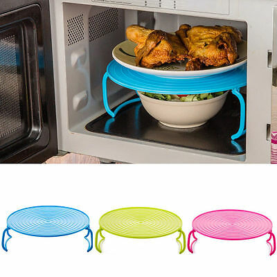 4 In 1 Microwave Plastic Food Dish Plate Stand Stacker Tray Heat Warm Lifter Bf