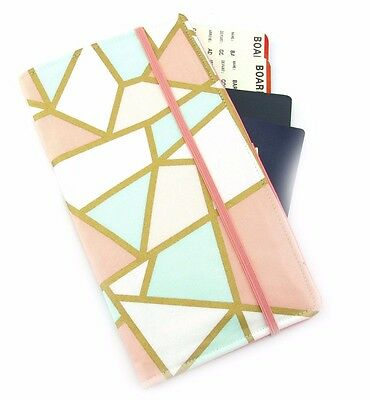 Travel Wallet, Passport Wallet, Travel Organiser, Travel Gift - Mint Peach Gold