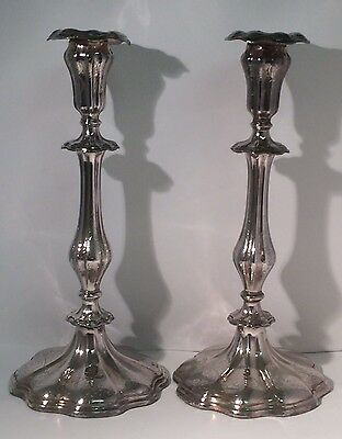 Antique Pair Waterhouse & Hatfield C1836 Old Sheffield Silver Plate Candlesticks