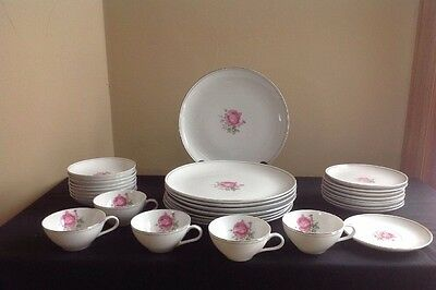 Vintage Imperial Rose Fine China #6702; 30 Pieces (Plates, Cups, Saucers, Bowls)
