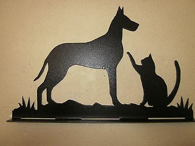 Great Dane And Cat Mailbox Topper (No Name) Steel Black Powder Coat Finish