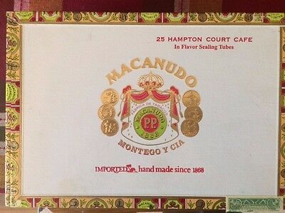 Macanudo Cigar Box - 25 Hampton Court Cafe- Handmade isince 1868 - empty box