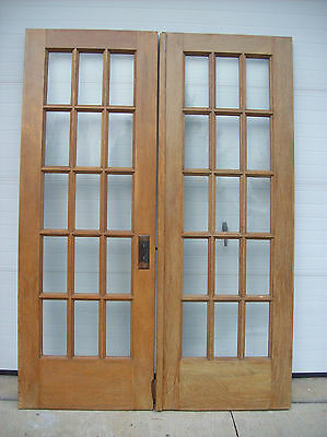 Oak Flat glass French doors 30 lite (DOOR G)