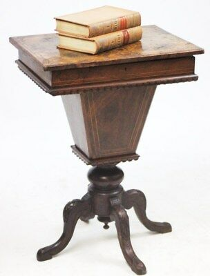 Antique Victorian Burr Walnut Sewing Table - FREE Shipping [PL623]