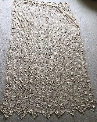 Vintage Retro Mid Century Hand Made French Cafe Style Crochet Lace Cream Curtain