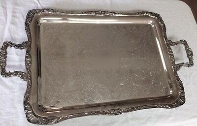 WM Rogers 292 silverplate footed butler's serving tray, heavy!