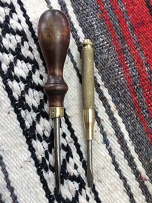 Vintage Siman Co Wooden Handle Sewing Machine Screw Driver& Brass Nesting Driver