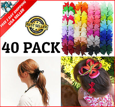 40Pcs Girls Ribbon Pinwheel Hair Bows With Clips Accessories For Teens & Babies