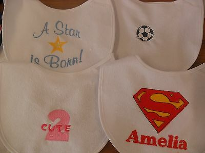 Personalised newborn baby gift  Baby bib  embroidered 4 design any colour/name