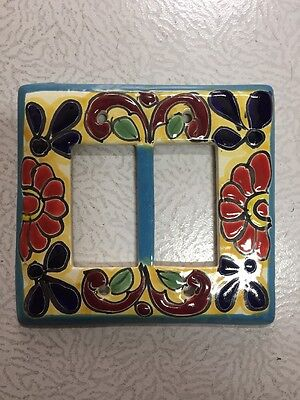 Talavera Mexican Pottery wall plate light switch double on/off cover multi color