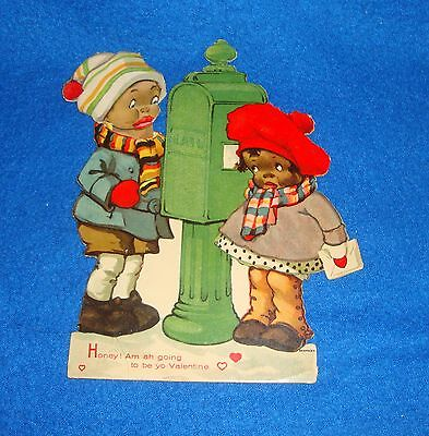 Vintage Black Americana Mechanical Valentine Card