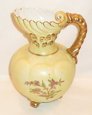 Vintage Hand Painted Pitcher - Shell Pouring Spout - Pale Yellow, Floral, Gold