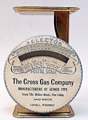 1920's celluloid advertising POSTAL SCALE Cross Gas Co. Lovell Wyoming *