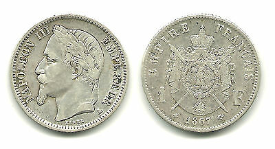 FRANCE - Silver 1 Franc, 1867-A, Napoleon III - NICE! KM #806.1