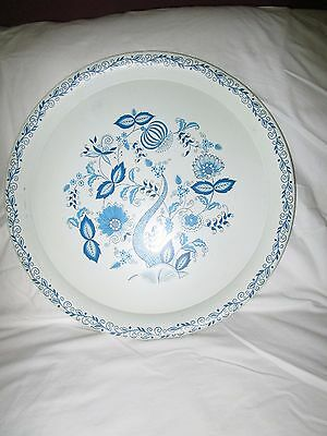 "Vintage 1950S-60S 16"" Round Blue Nordic Pattern Tin Serving Tray, Euc!"
