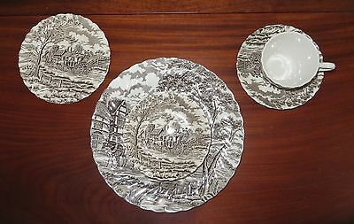 MYOTT IRONSTONE, 5 PIECE PLACE SETTING, England, ROYAL MAIL, Brown on White