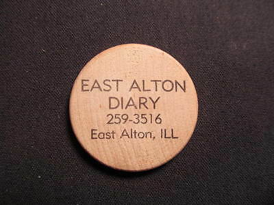 East Alton, Illinois Wooden Nickel token - East Alton Dairy Wooden Nickel Coin