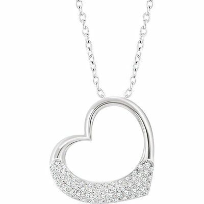 """Diamond 16-18"""" Heart Necklace In 14K White Gold (1/5 ct. tw.)"""