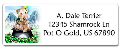 Airedale Terrier St Patricks Pot O Gold Address Labels set of 60 WATERPROOF