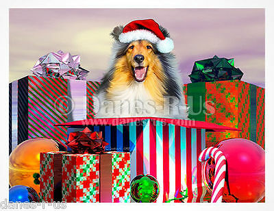 Sable Collie Christmas Surprise Dog Art Greeting Note Cards Set of 10